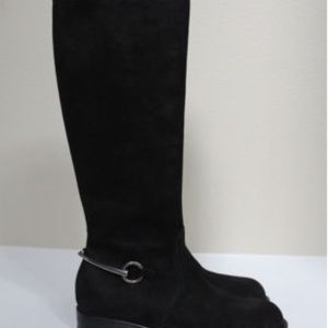GUCCI Black Suede Horsebit Knee High Riding Boot